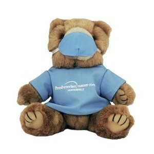 "8"" Light Blue Scrubs Bear w/One Color Imprint"
