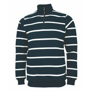 Adult Crosswind Striped Quarter Zip Print Sweatshirt