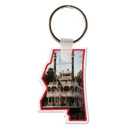 Mississippi Shaped Key Tag W/ Key Ring