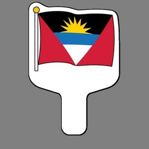 Hand Held Fan W/ Full Color Flag of Antigua & Barbuda