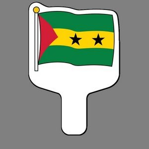 Hand Held Fan W/ Full Color Flag Of Sao Tome & Principe