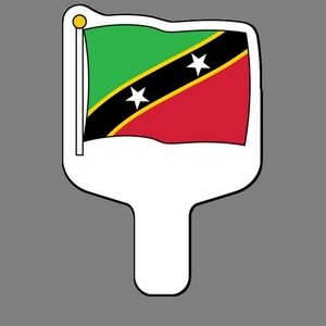 Hand Held Fan W/ Full Color Flag Of Saint Kitts & Nevis