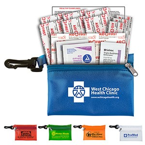 """Troutdale Plus"" 14 Piece First Aid Kit w/ Plastic Carabiner Attachment"