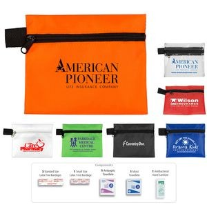 """Safe Helper"" 8 Piece Hand Sanitizer First Aid Kit in Zipper Pouch"