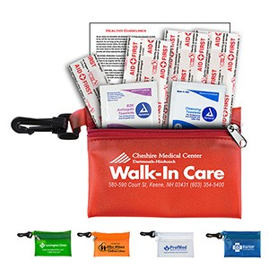 """Parkway"" 7 Piece First Aid Kit w/ Plastic Carabiner Attachment"