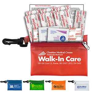 """Troutdale"" 13 Piece First Aid Kit w/ Plastic Carabiner Attachment"