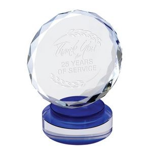 Diamond Cut Crystal Award Blue Accent - Medium