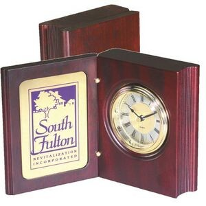 "Book shape Wooden Desk Clock with 3 1/4"" x 4 1/2"" brass plate for logo and personalization"