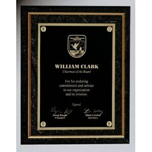 "9"" X 12"" Black Marble Finish Plaque"
