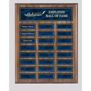 "American Walnut Veneer Perpetual Plaque w/ 24 Black or Blue Marble plates (12"" x 15"")"