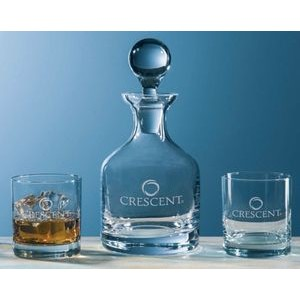 Classic Whiskey Decanter w/ Set of 2 Glasses (3 Piece Set)