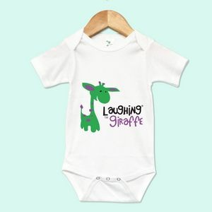 The Laughing Giraffe® Short Sleeve 65%/35% Newborn baby Bodysuit - White