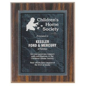 "9"" x 12"" Walnut Finish Plaque with Black Marble Acrylic Plate"