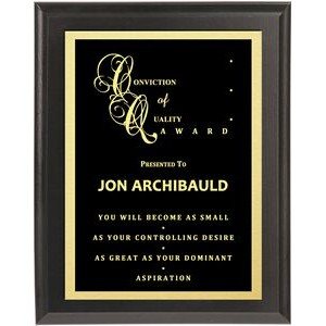 "Digital Lasered Solid Black Plaque 6""x8"""